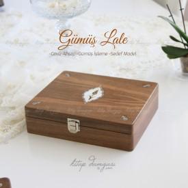 Ceviz Ahşap Kutu - Gümüş İşlemeli ve Lale  Motifli Mühür Kutusu