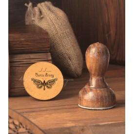 Desenli Kelebek Kişiye Özel Kitap Damgası - Exlibris