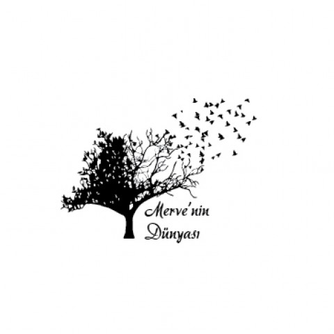 Kitap Mührü - Ağaç ve Uçan Kuşlar